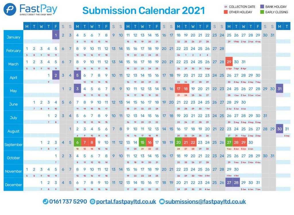 Bacs processing calendar 2021